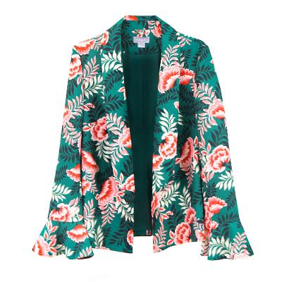 tropical pattern boyfriend blazer green